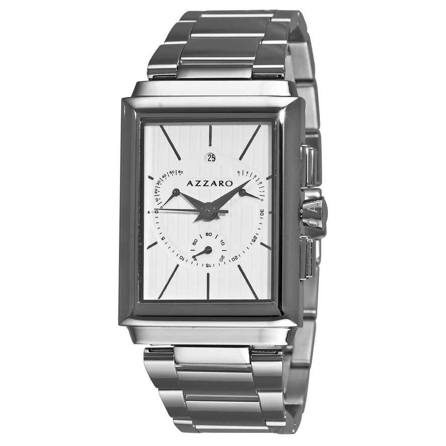 620-934 - Azzaro Legend Rectangular Men's Swiss Quartz Steel Bracelet Watch