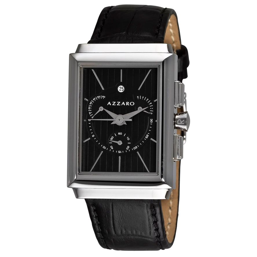 620-936 - Azzaro Legend Rectangular Men's Swiss Quartz Leather Strap Watch