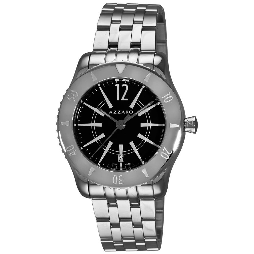 620-972 - Azzaro Men's Coastline Swiss Made Quartz Stainless Steel Bracelet Watch