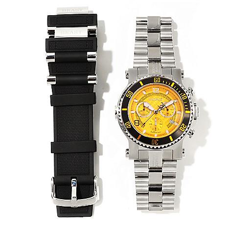 621-163 - Renato 45mm Beast Diver Quartz Chronograph Bracelet Watch w/ Extra Rubber Strap