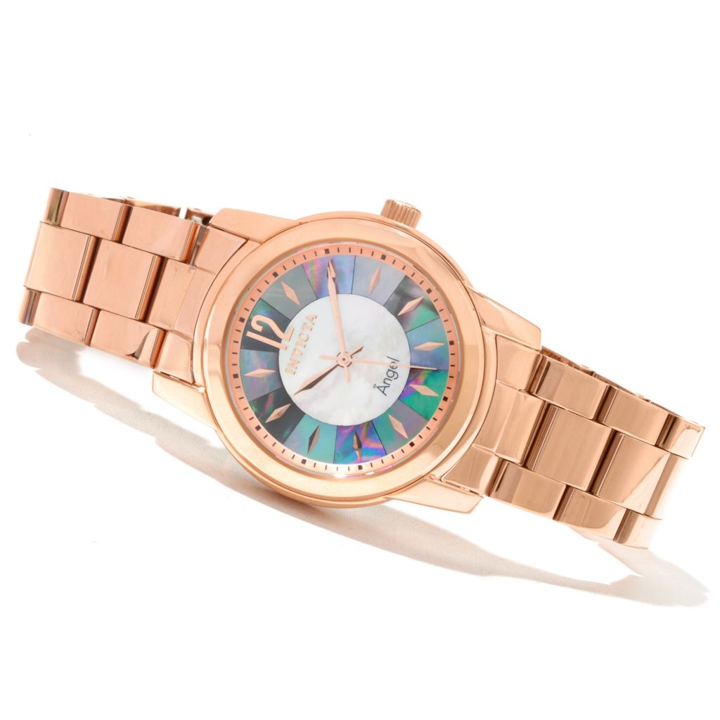 621-195 - Invicta Women's Angel Mosaic Quartz Mother-of-Pearl Dial Stainless Steel Bracelet Watch