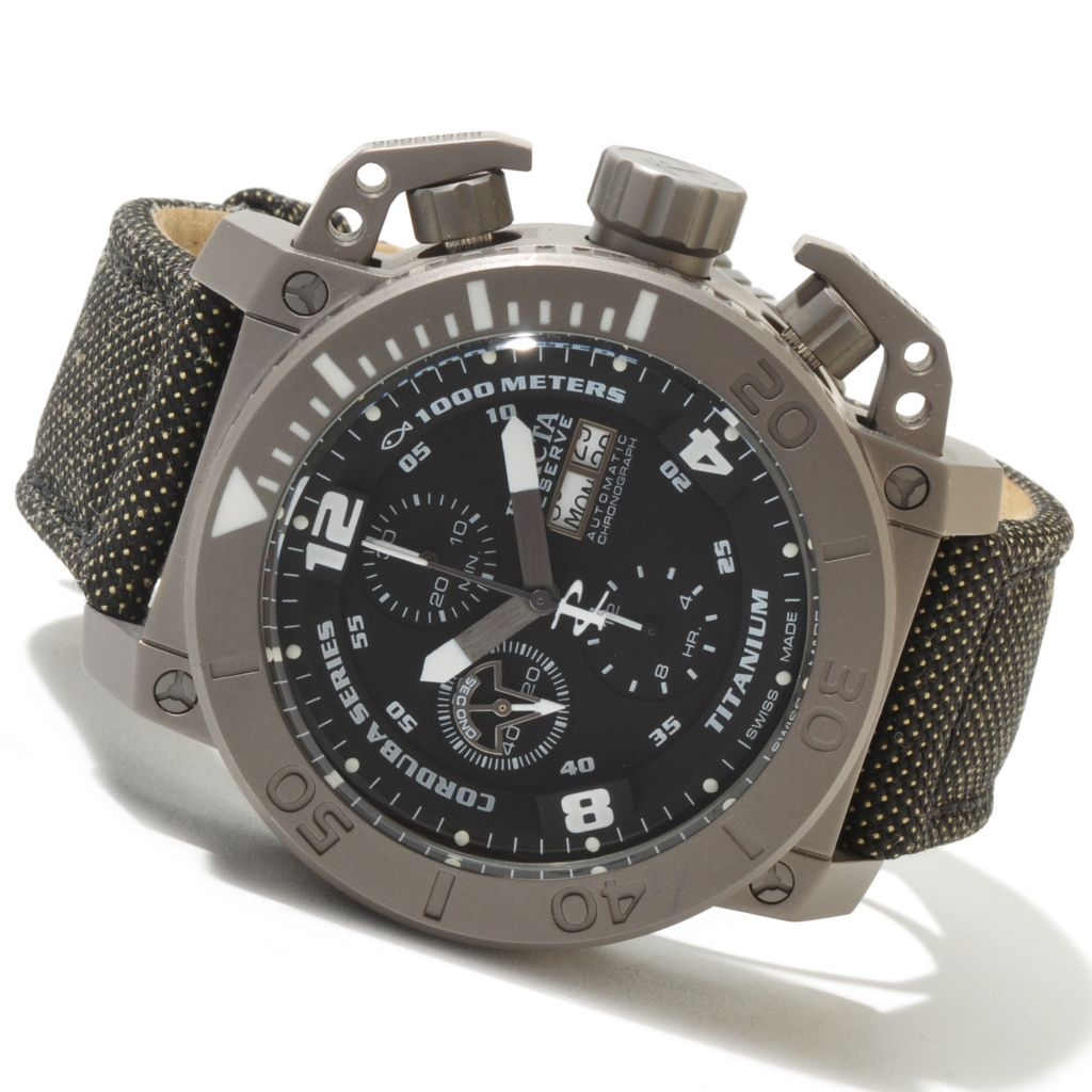 621-277 - Invicta Reserve 48mm Corduba Enforcer Swiss Automatic Chronograph Titanium Kevlar Strap Watch