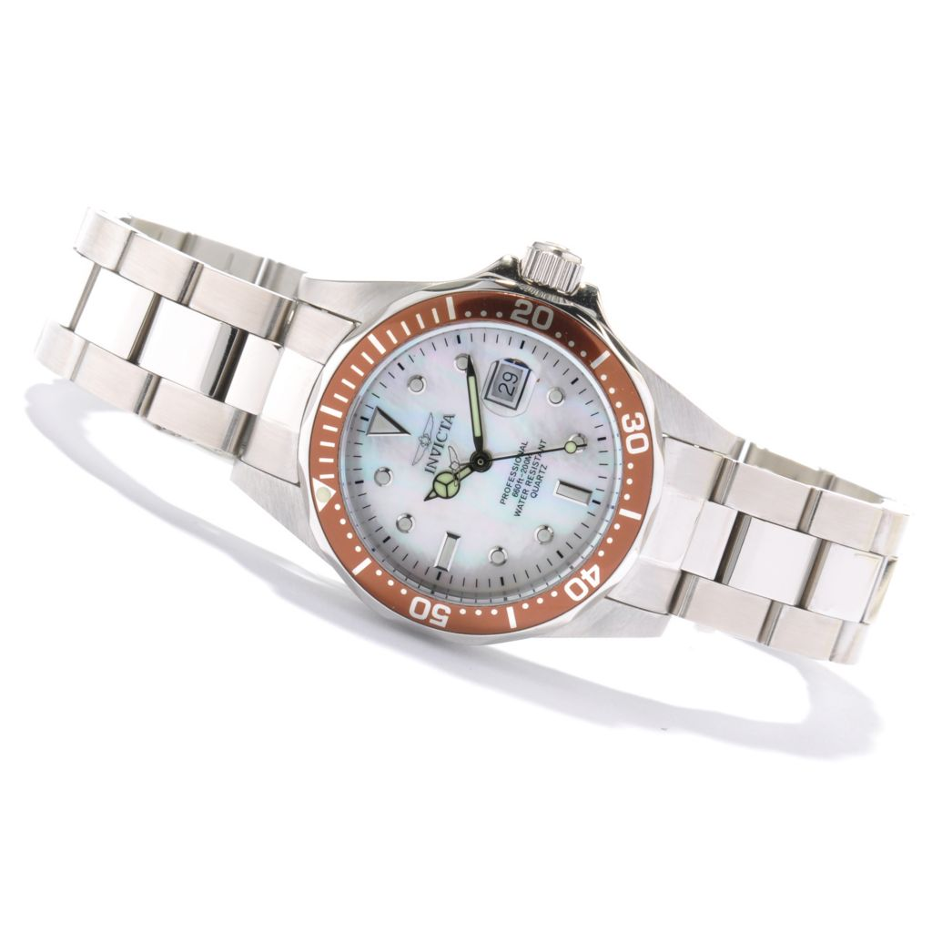 621-299 - Invicta Women's Pro Diver Quartz Mother-of-Pearl Stainless Steel Bracelet Watch w/ Collector's Box