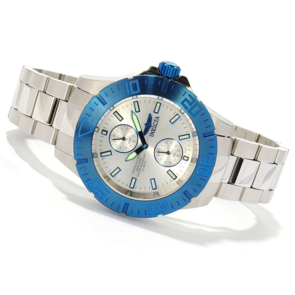 621-415 - Invicta Men's Pro Diver Ocean Baron Quartz Stainless Steel Bracelet Watch w/ Eight-Slot Dive Case
