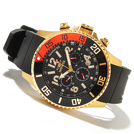 621-430 - Invicta Men's Pro Diver Quartz Chronograph Carbon Fiber Dial Polyurethane Strap Watch