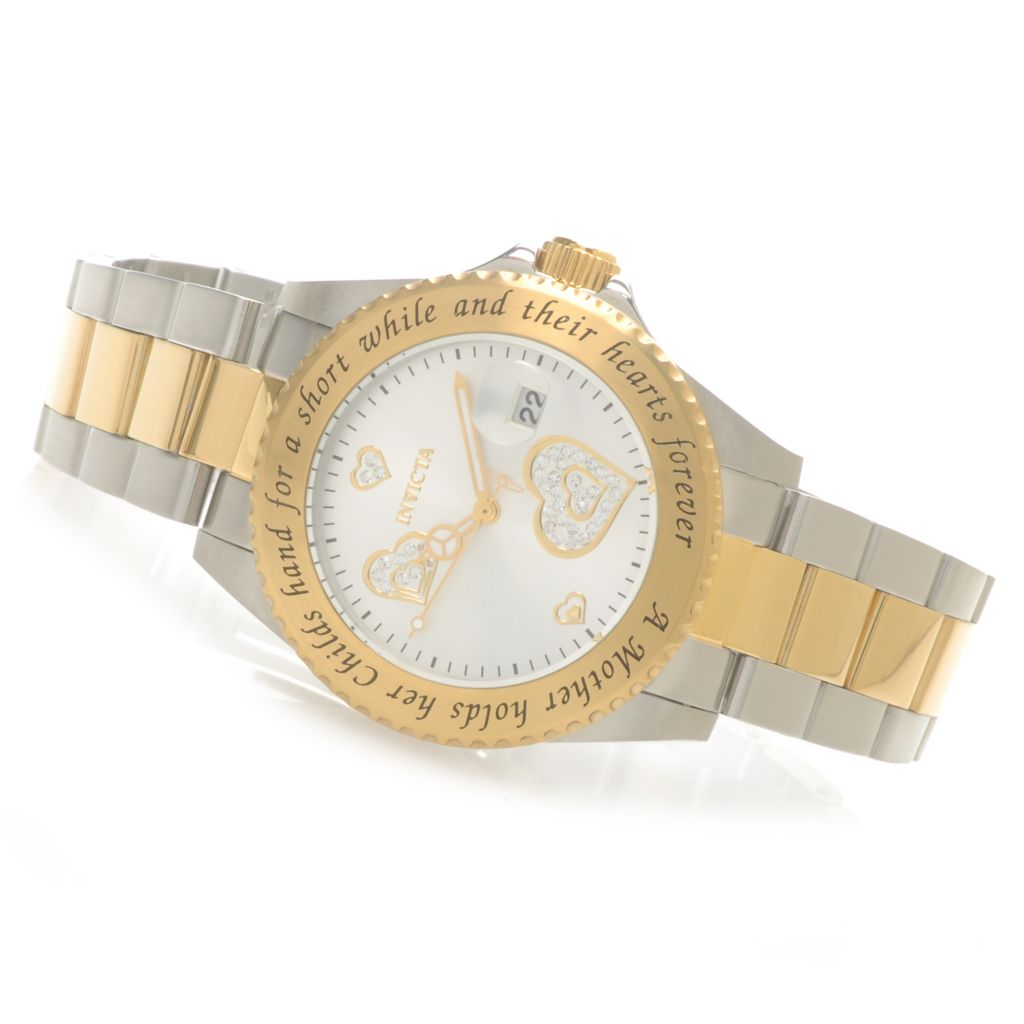 "621-529 - Invicta Women's Angel Quartz ""Mother and Child"" Bracelet Watch w/ Travel Box"