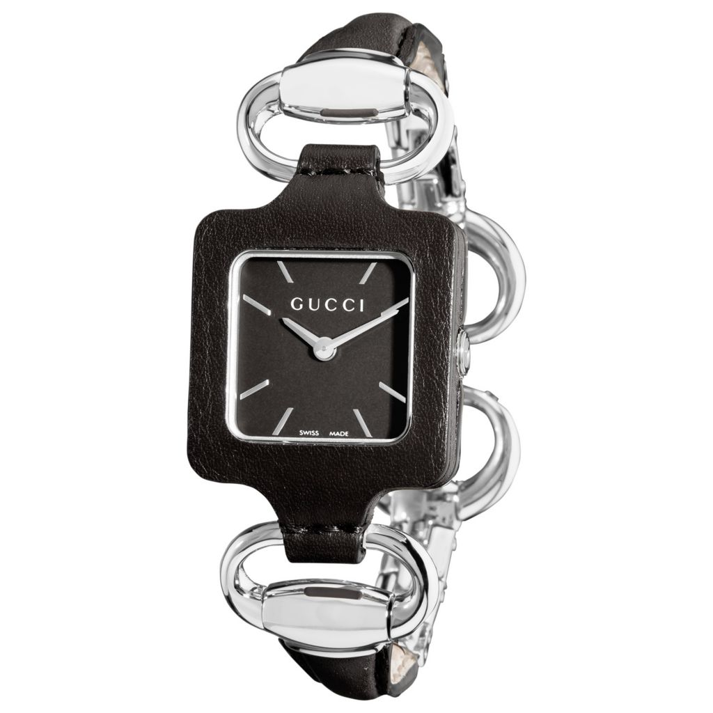 621-627 - Gucci Women's 1921 Swiss Quartz Bangle Style Black Leather Strap Watch