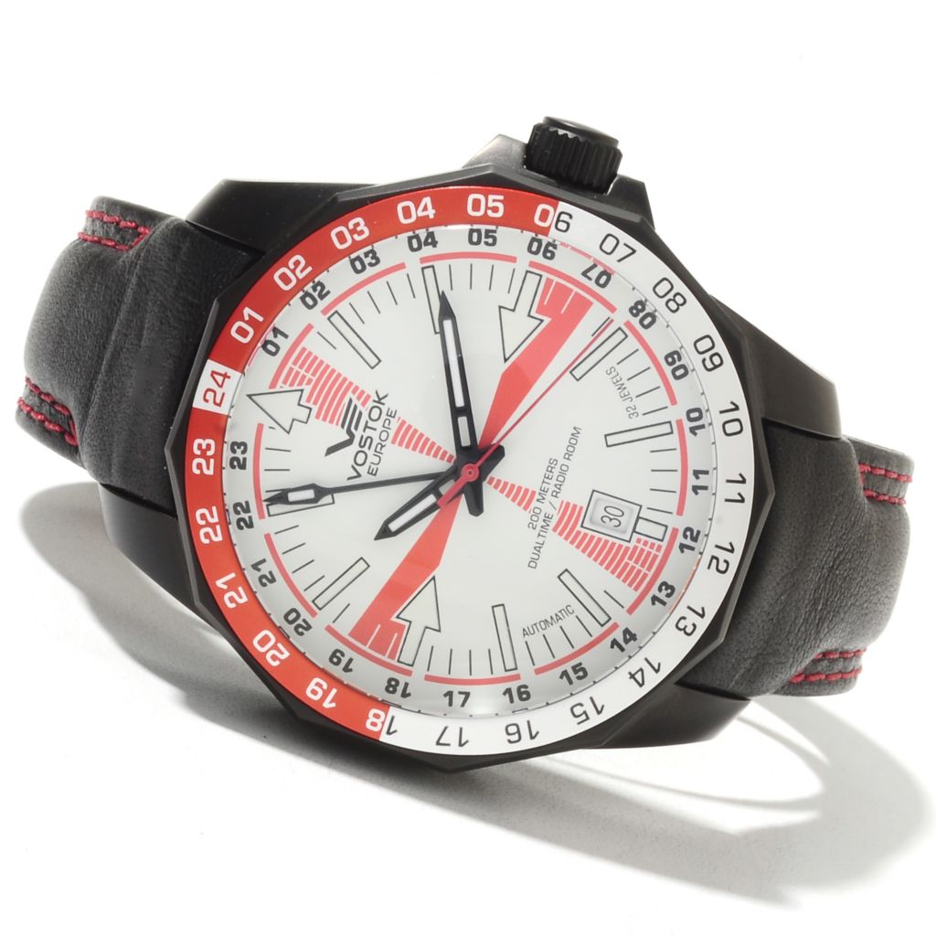 621-668 - Vostok-Europe Men's Radio Room Limited Edition Russian Automatic Dual Time Leather Strap Watch