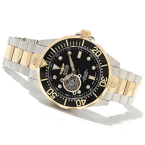 621-674 - Invicta 47mm Grand Diver Automatic Open Heart Stainless Steel Bracelet Watch