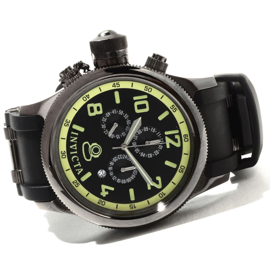 621-688 - Invicta Men's Russian Diver Quartz Chronograph Stainless Steel Polyurethane Strap Watch