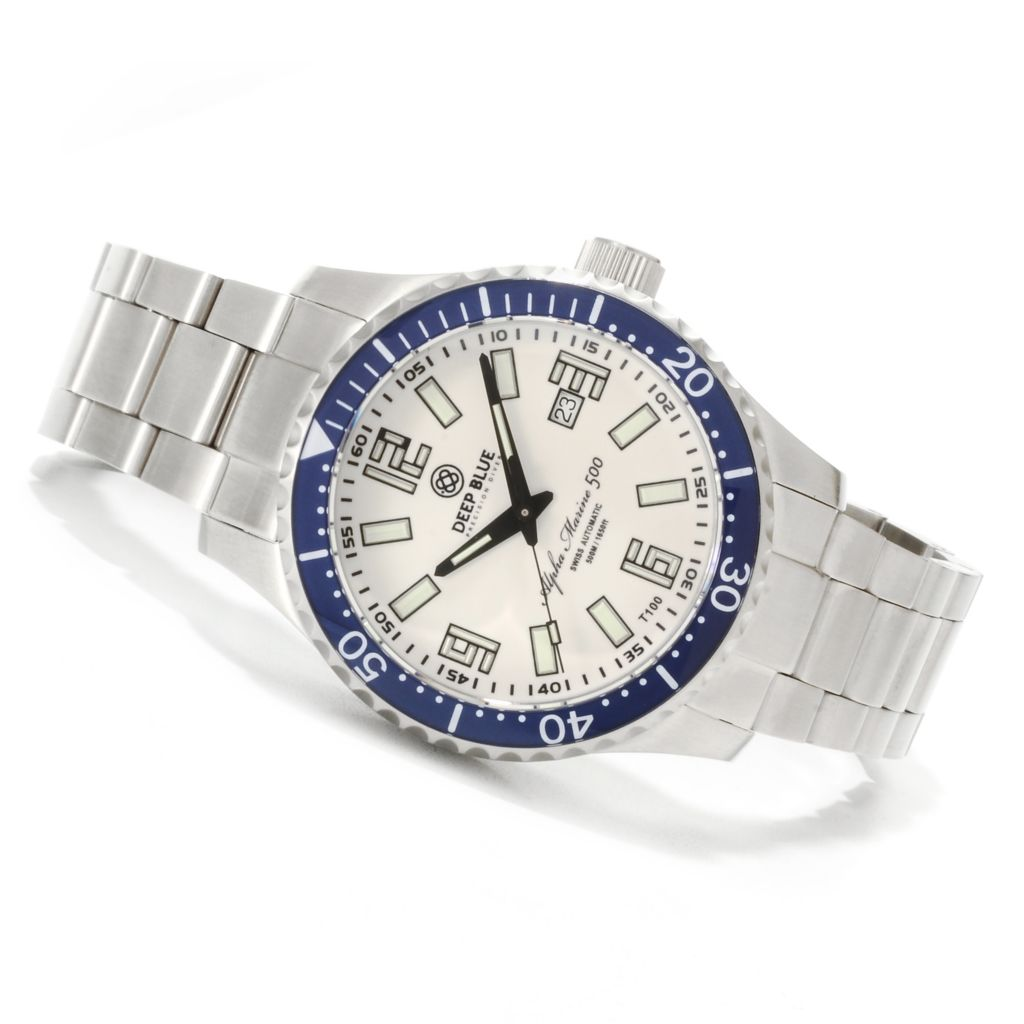 621-700 - Deep Blue 45mm Alpha Marine 500 Swiss Automatic Lume Dial Stainless Steel Bracelet Watch