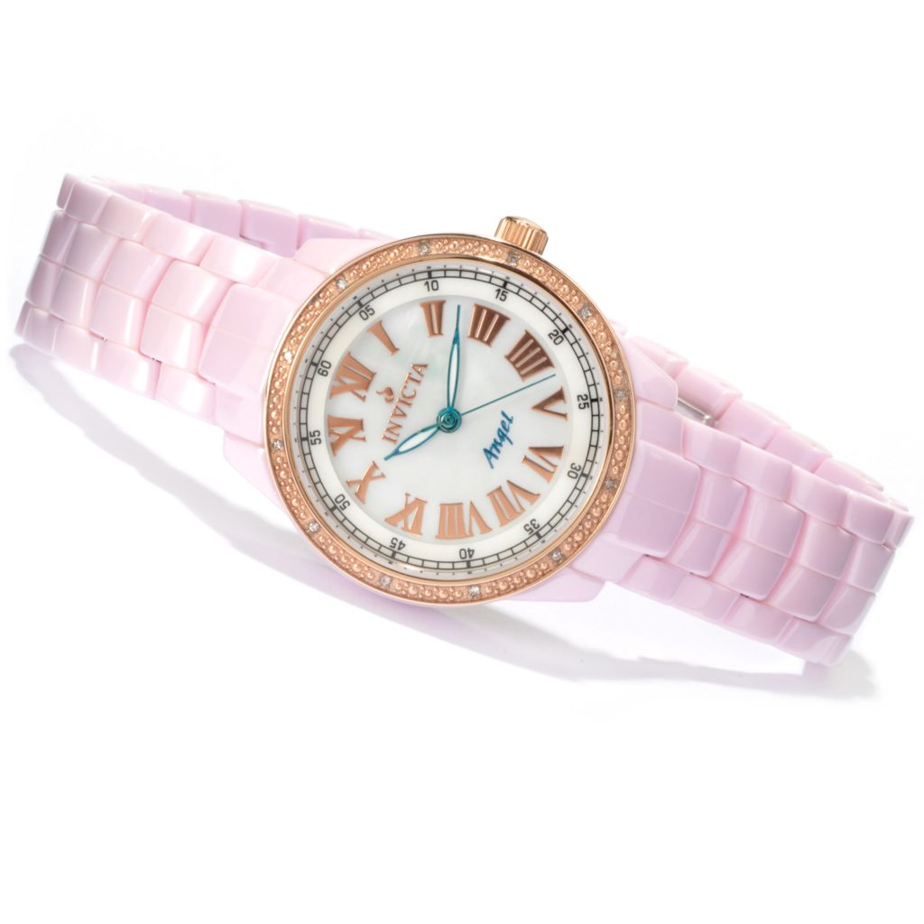 621-707 - Invicta Women's Classique Quartz Diamond Accent Ceramic Bracelet Watch w/ Travel Box