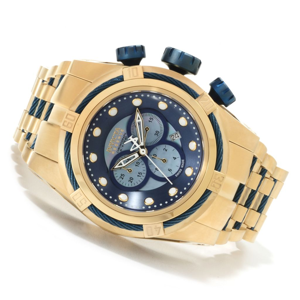 621-726 - Invicta Reserve 52mm Bolt Zeus Swiss Made Quartz Chronograph Stainless Steel Bracelet Watch