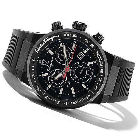 621-747 - Ferragamo Men's F-80 Swiss Made Quartz Titanium Rubber Strap Watch