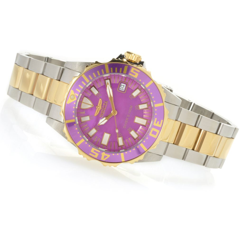 621-813 - Invicta Women's Pro Diver Quartz Mother-of-Pearl Stainless Steel Bracelet Watch