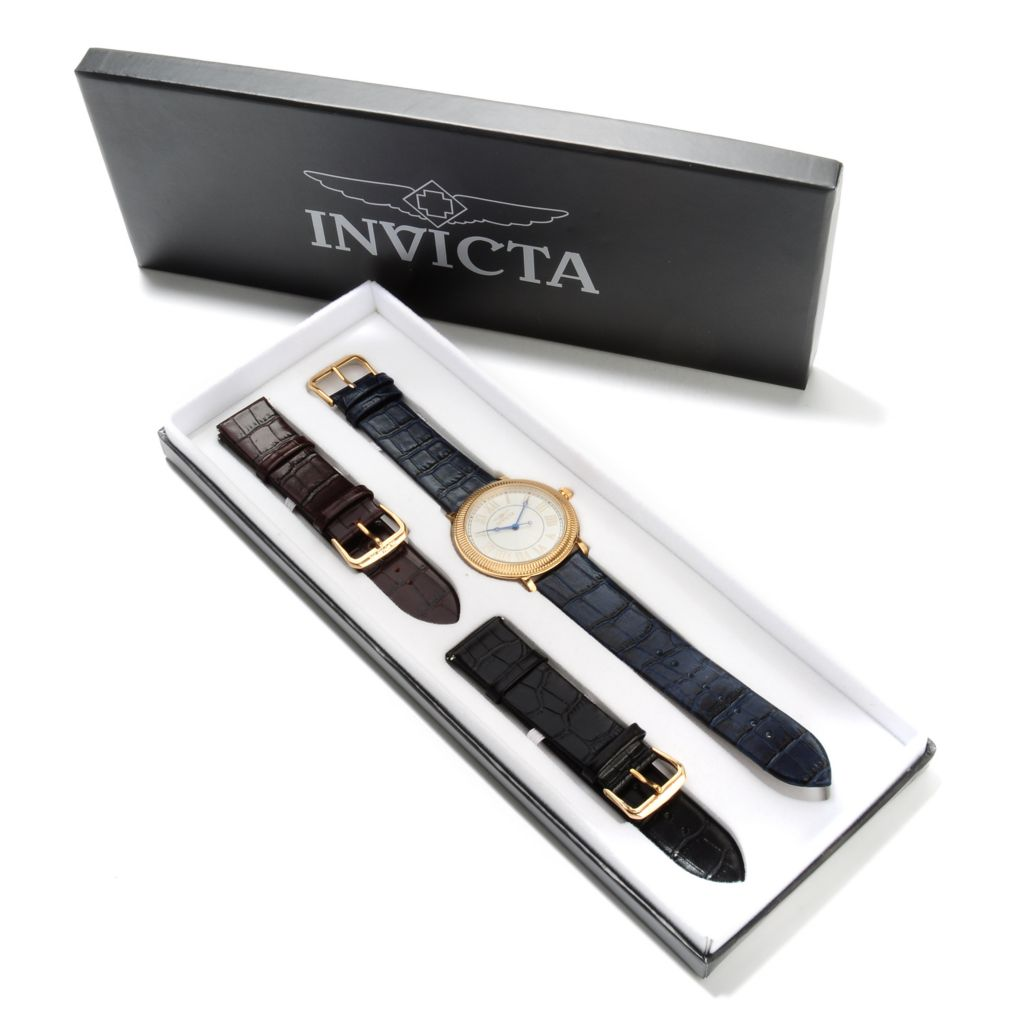 621-818 - Invicta Men's Specialty Slim Stainless Steel Watch w/ Three-Piece Leather Strap Set