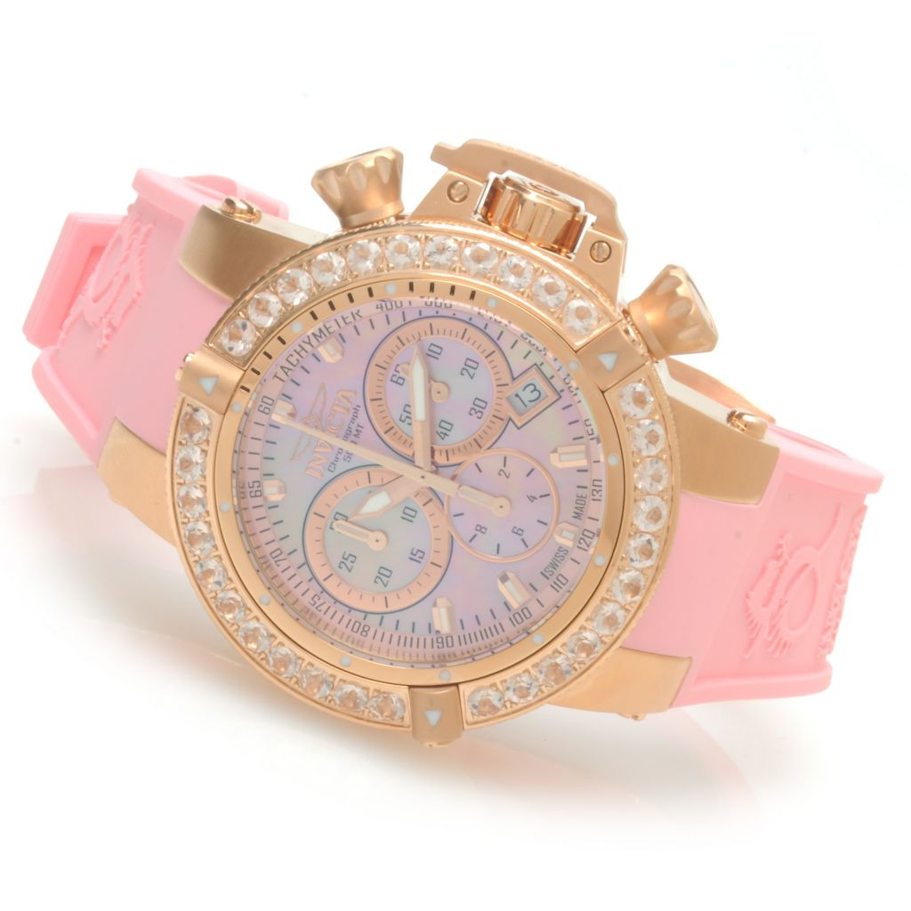 621-835 - Invicta Women's Subaqua Noma III Swiss Chronograph 3.0ctw Morganite Bezel Polyurethane Strap Watch