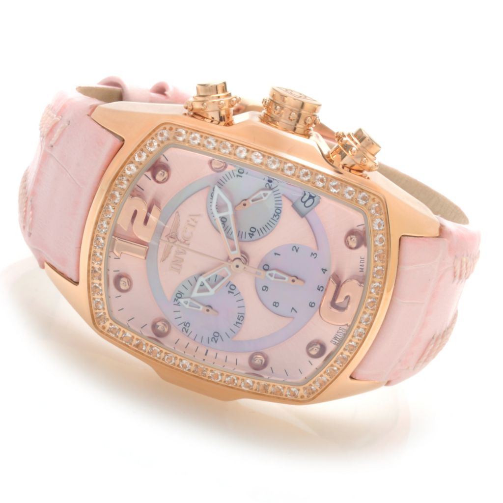 621-836 - Invicta Women's Lupah Revolution Swiss Chronograph Morganite Bezel Leather Strap Watch