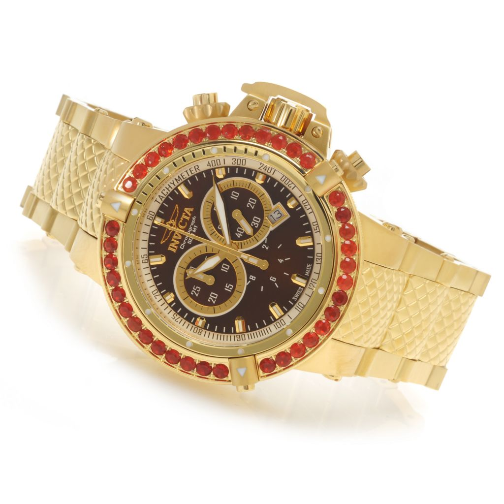 621-837 - Invicta 50mm Subaqua Noma III Swiss Chronograph Fire Opal Bezel Bracelet Watch