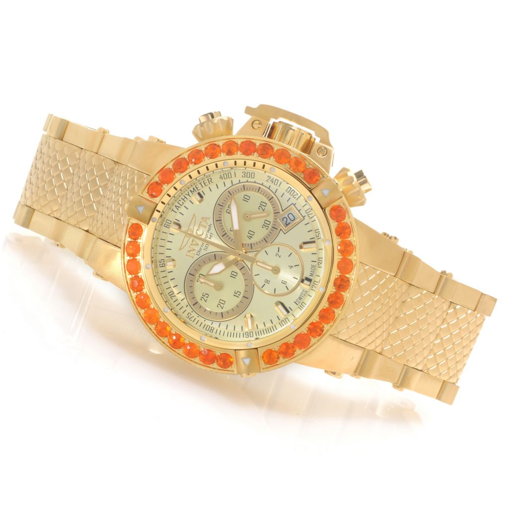 621-840 - Invicta Women's Subaqua Noma III Swiss Chronograph Fire Opal Bezel Bracelet Watch