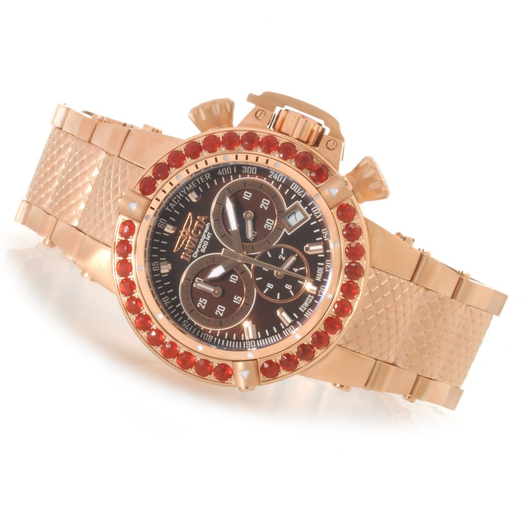 621-841 - Invicta Women's Subaqua Noma III Swiss Chronograph Fire Opal Bezel Bracelet Watch