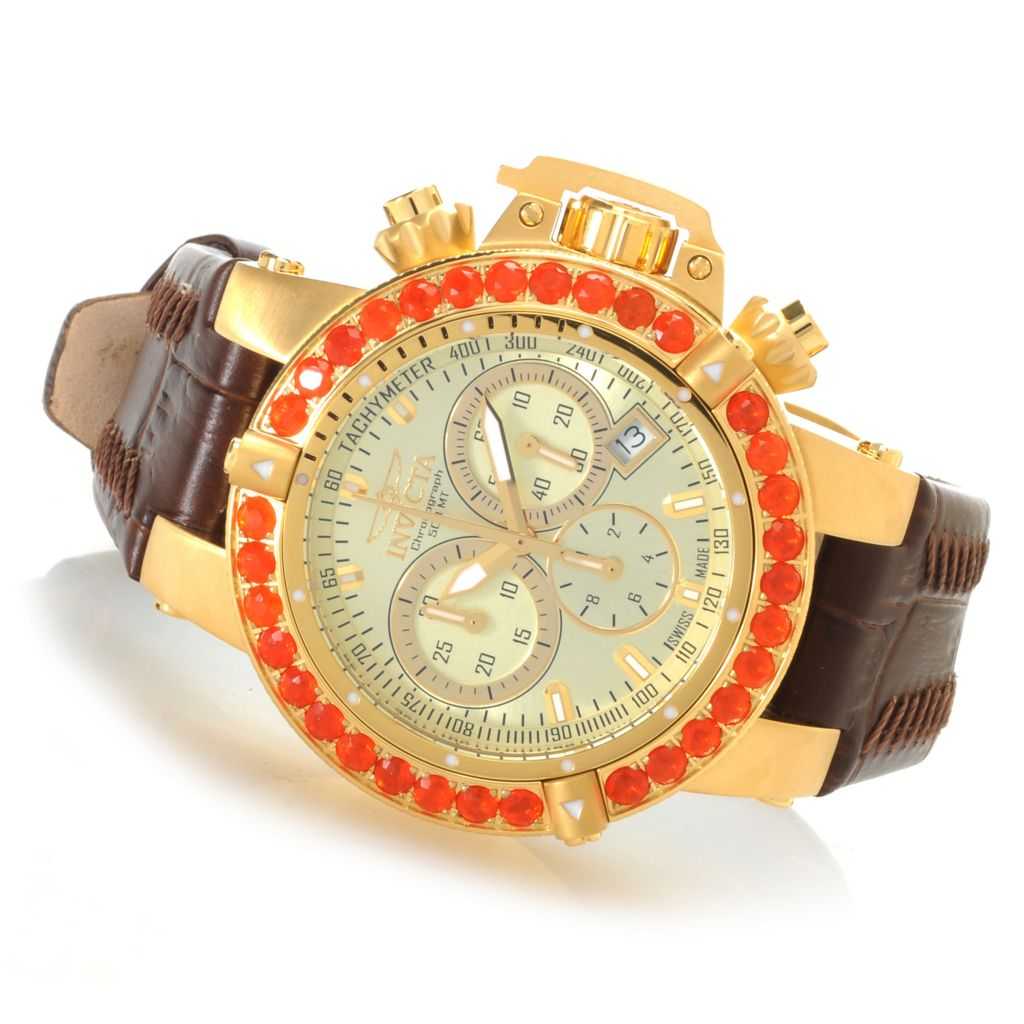 621-842 - Invicta Women's Subaqua Noma III Swiss Chronograph Fire Opal Bezel Leather Strap Watch