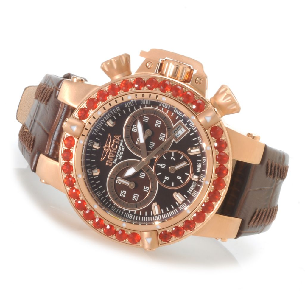621-843 - Invicta Women's Subaqua Noma III Swiss Chronograph Fire Opal Bezel Leather Strap Watch