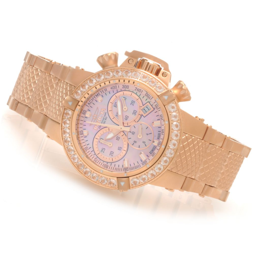 621-845 - Invicta Women's Subaqua Noma III Swiss Chronograph 3.0ctw Morganite Bezel Bracelet Watch