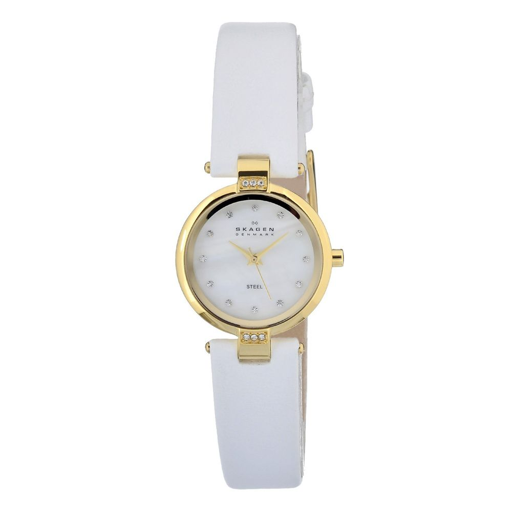 621-934 - Skagen Women's Quartz Leather Strap Watch Made w/ Swarovksi® Elements