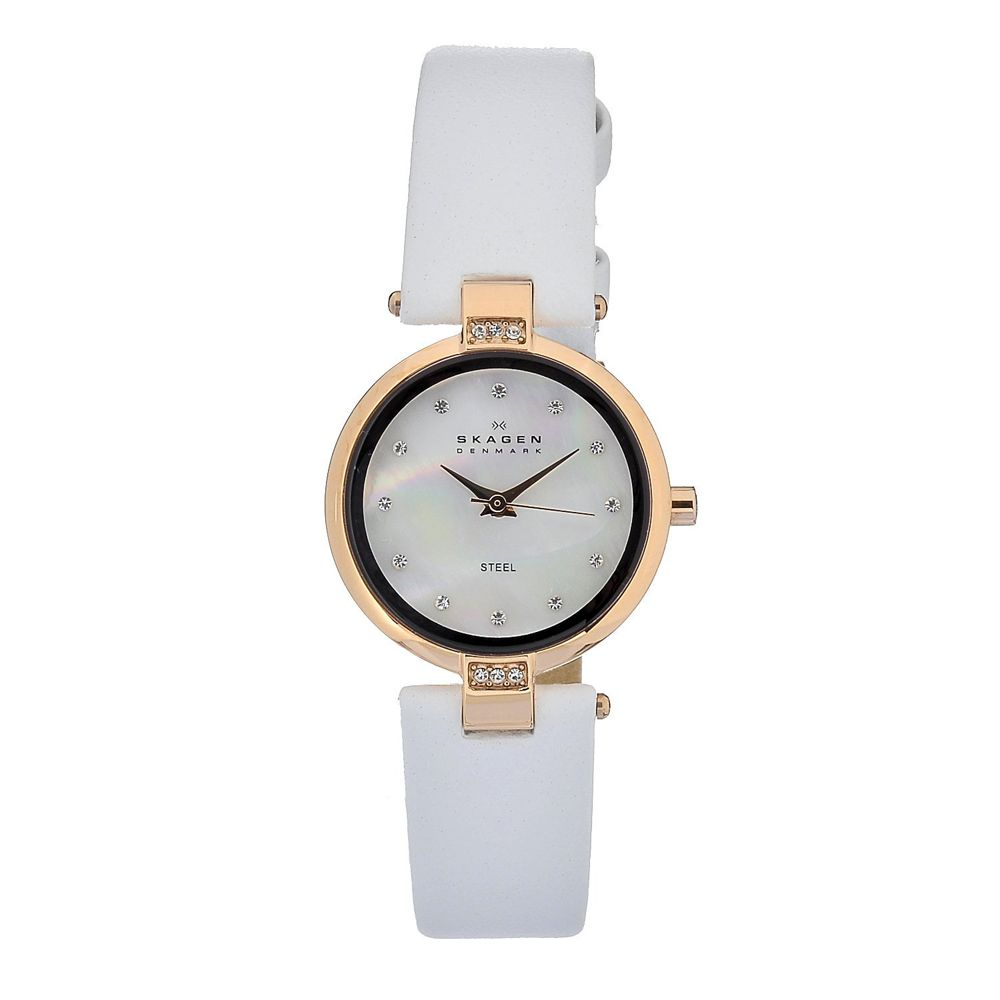 621-938 - Skagen Women's Quartz Leather Strap Watch Made w/ Swarovksi® Elements