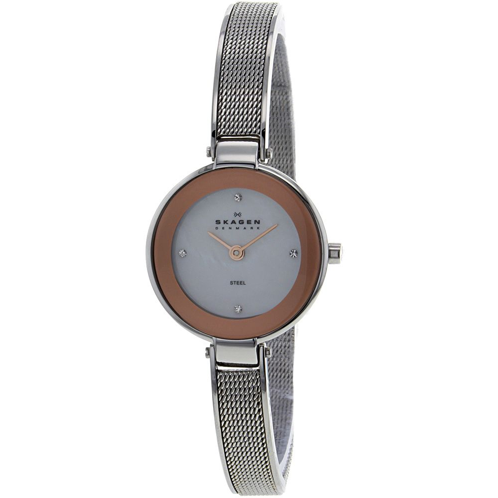 621-950 - Skagen Women's Quartz Crystal Accented Stainless Steel Bracelet Watch