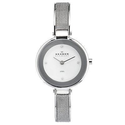 621-952 - Skagen Women's Quartz Crystal Accented Stainless Steel Bracelet Watch