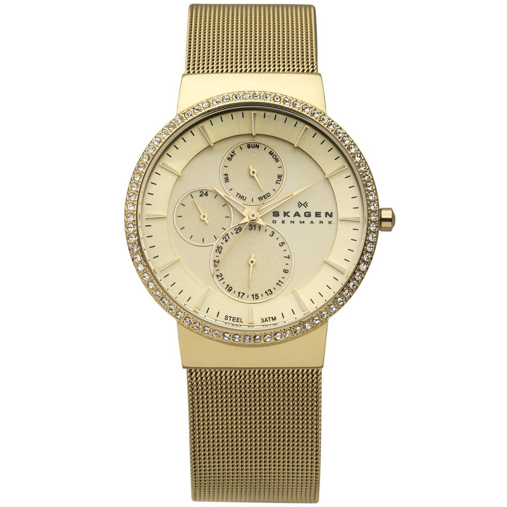 621-968 - Skagen Women's Steel Collection Quartz Crystal Accented Stainless Steel Bracelet Watch