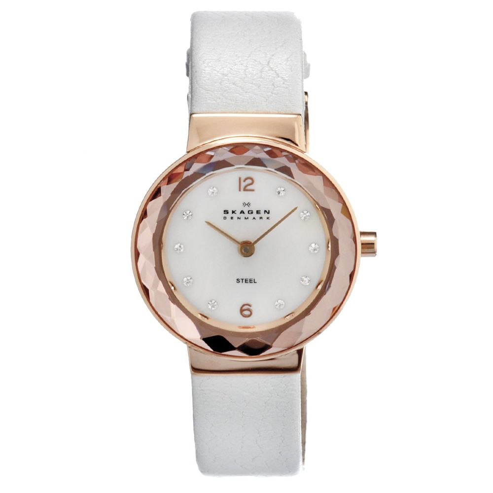 621-986 - Skagen Women's Quartz Crystal Accented Leather Strap Watch