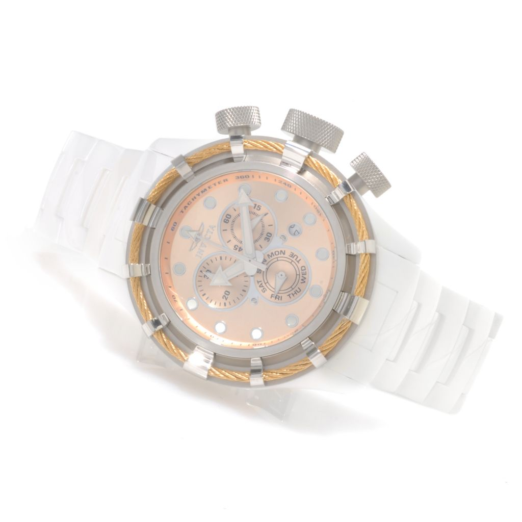 622-033 - Invicta 50mm Bolt Quartz Chronograph Ceramic Bracelet Watch