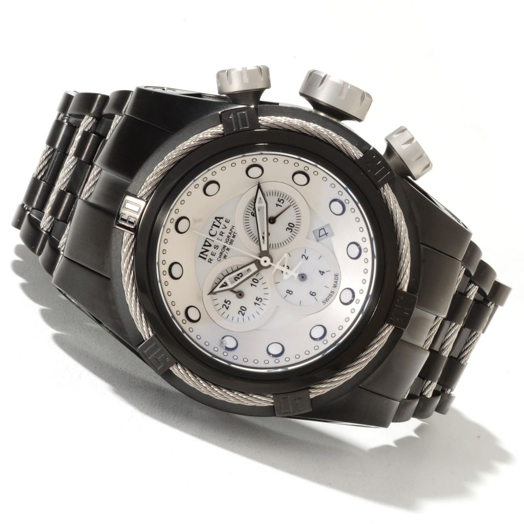 622-040 - Invicta Reserve 51mm Bolt Zeus Swiss Quartz Chronograph Mother-of-Pearl Dial Bracelet Watch