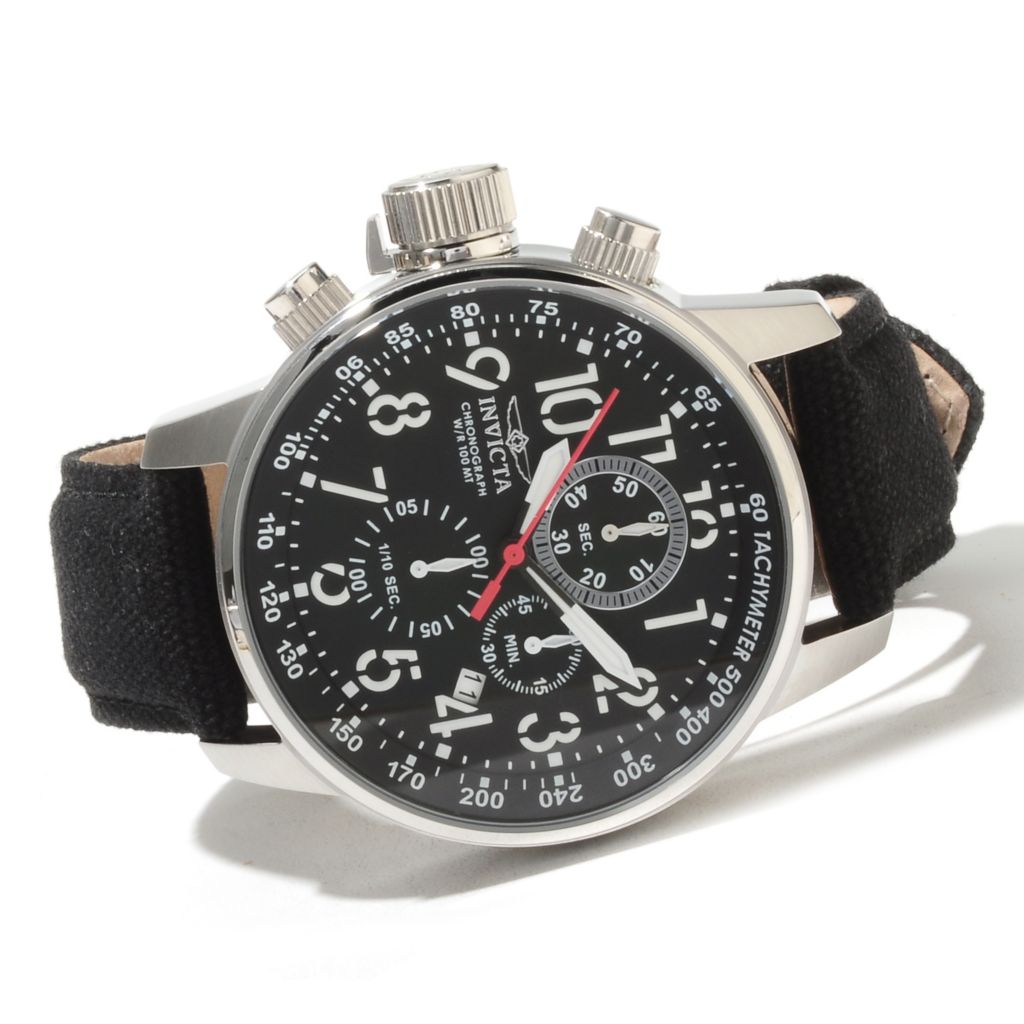 622-072 - Invicta Men's I Force Quartz Chronograph Stainless Steel Rifle Leather Strap Watch