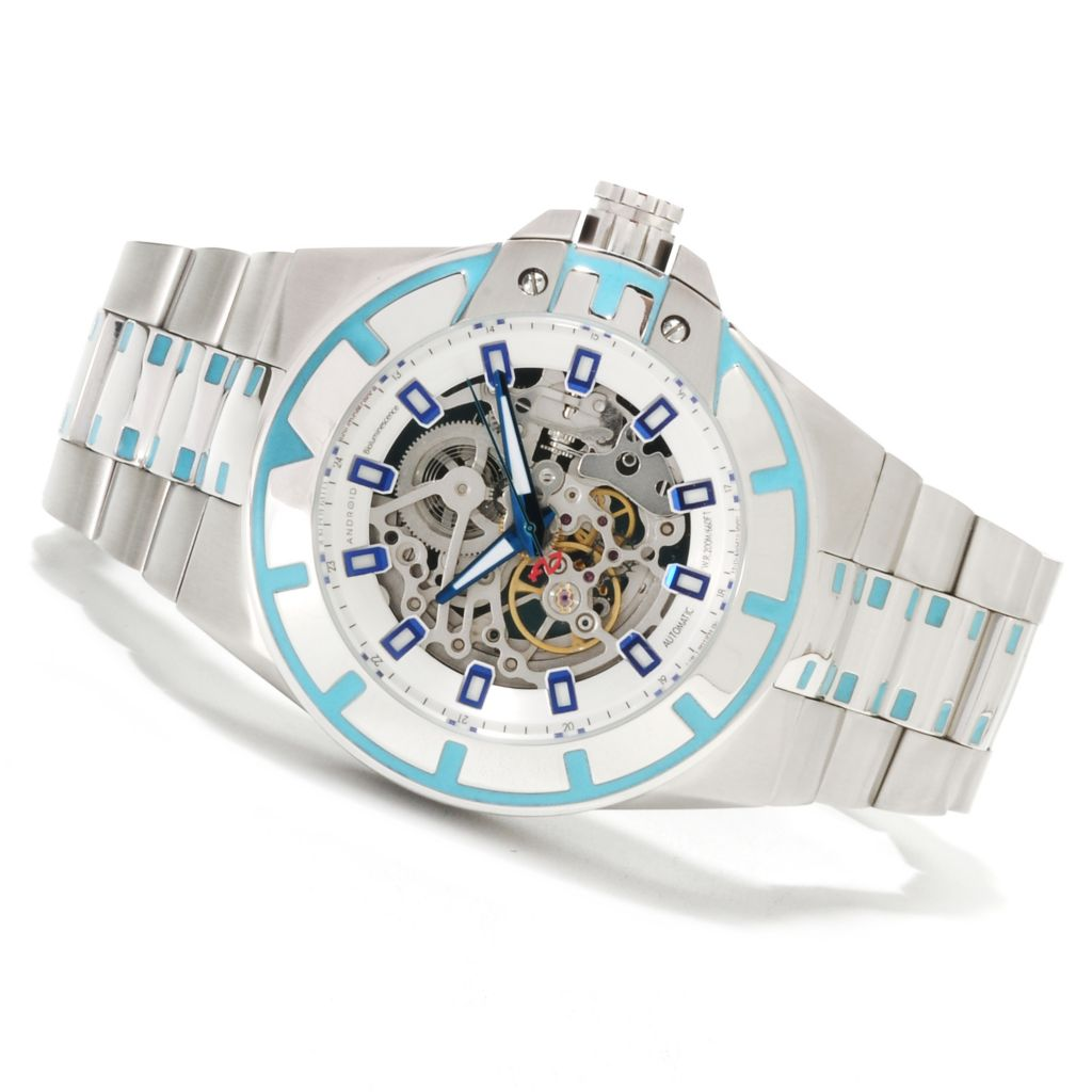 622-083 - Android 48mm Bioluminescence Automatic Skeletonized Dial Stainless Steel Bracelet Watch