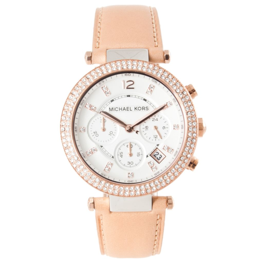 622-125 - Michael Kors Women's 'Parker' Quartz Chronograph Leather Strap Watch