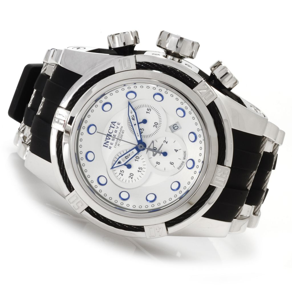 622-174 - Invicta Reserve 52mm Bolt Zeus Swiss Made Quartz Chronograph Polyurethane Strap Watch