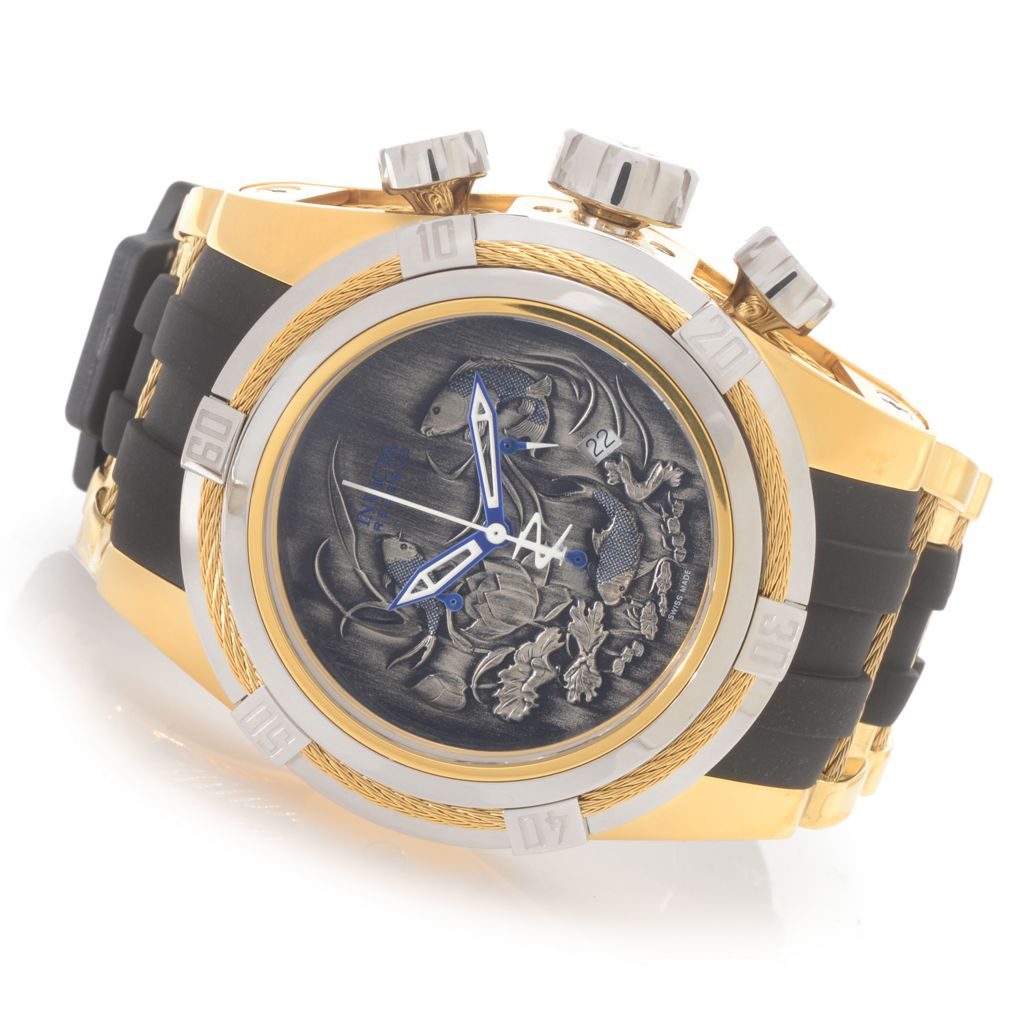 622-176 - Invicta Reserve 52mm Bolt Zeus Koi Fish Swiss Quartz Chronograph Polyurethane Strap Watch