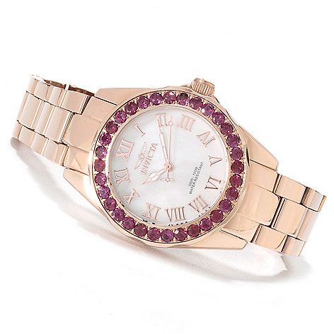 622-182 - Invicta Women's Angel Gems Quartz Mother-of-Pearl Dial Limited Edition Bracelet Watch