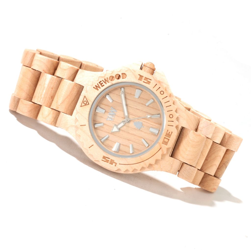 """622-199 - WeWOOD Mid-Size """"Date"""" Quartz Wooden Bracelet Watch"""