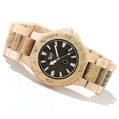 622-200 - WeWOOD 42mm ''Date'' Quartz Wooden Bracelet Watch