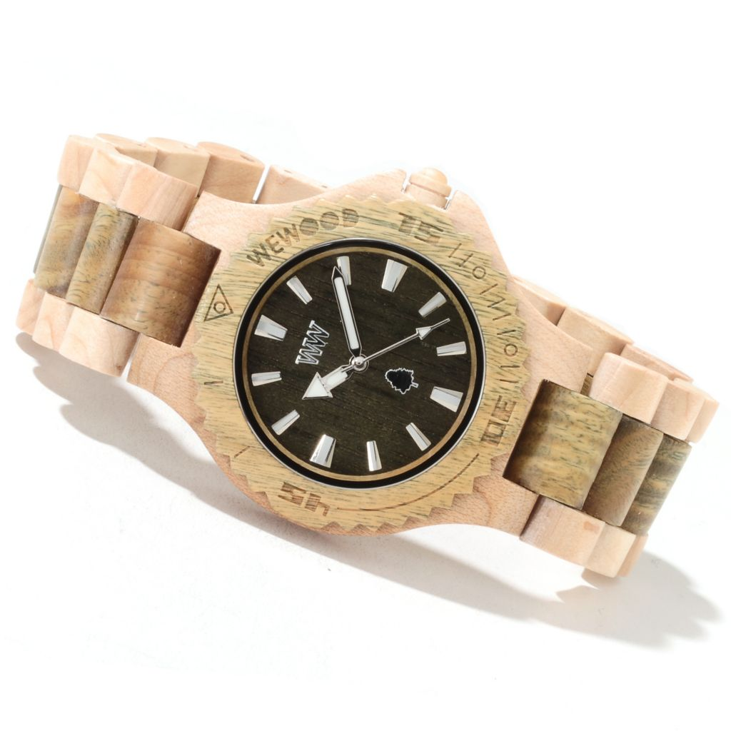 622-200 - WeWOOD Mid-Size Date Quartz Two-Tone Wooden Bracelet Watch