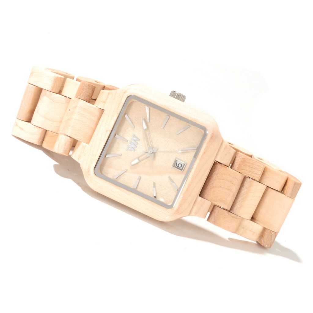 "622-204 - WeWOOD Rectangular ""Metis"" Quartz Wooden Bracelet Watch"