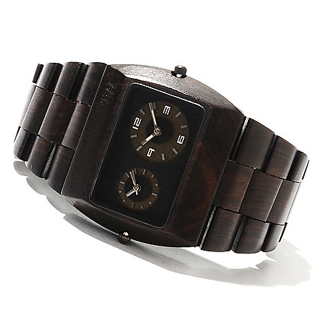622-206 - WeWOOD Rectangular ''Jupiter'' Quartz Dual Time Wooden Bracelet Watch