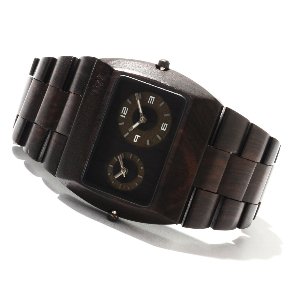 "622-206 - WeWOOD Rectangular ""Jupiter"" Quartz Dual Time Wooden Bracelet Watch"