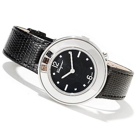 622-211 - Ferragamo Women's Gancino Sparkling Swiss Made Quartz Leather Strap Watch