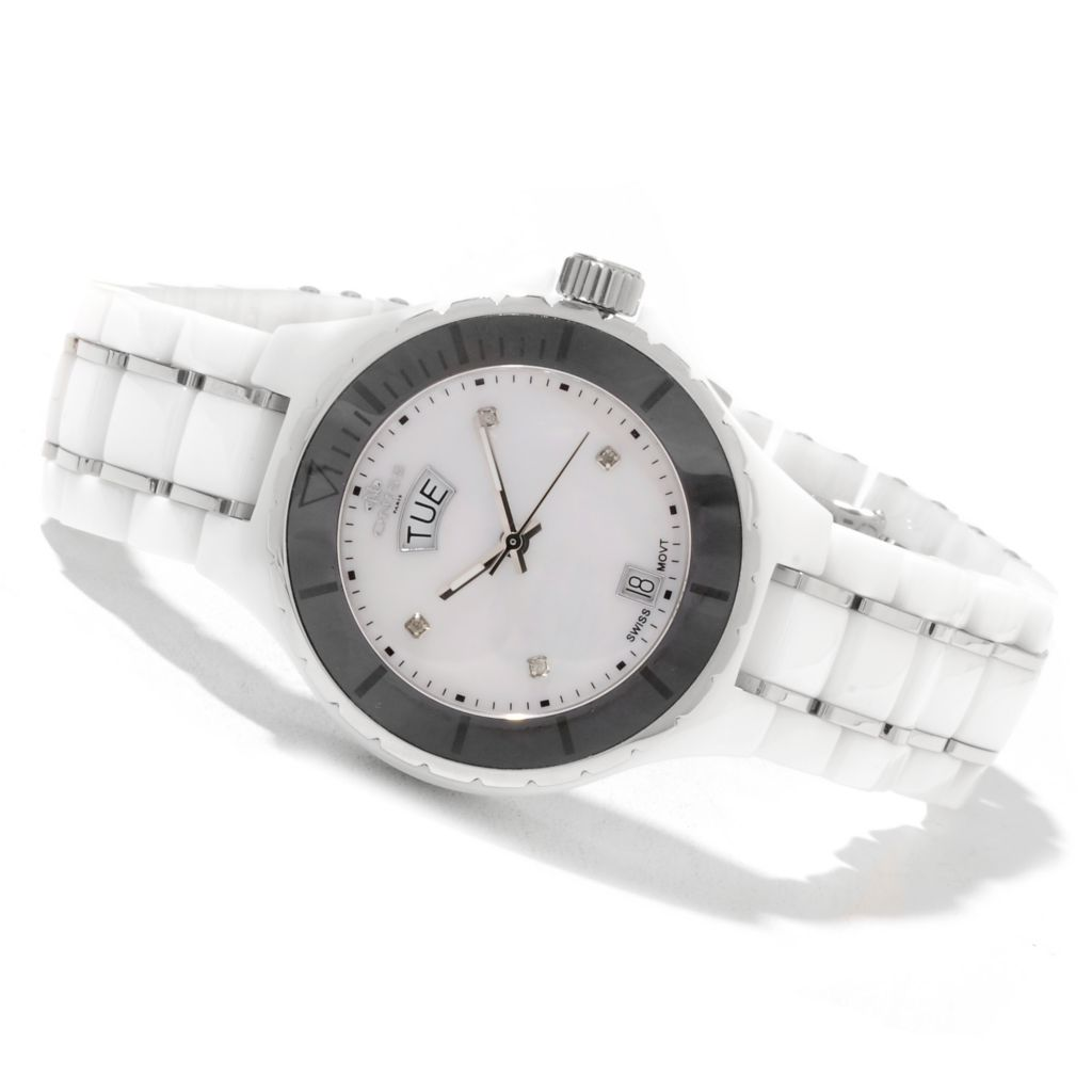 622-238 - Oniss Women's Ligaro XL Swiss Quartz Mother-of-Pearl Ceramic Watch
